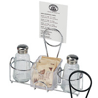 Clipper Mill by GET 4-22735 9 inch x 7 inch 2-Compartment Condiment Caddy with Menu Holder