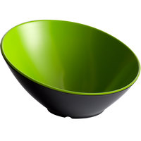 GET B-788-G/BK Brasilia 16 oz. Green and Black Slanted Melamine Catering Bowl