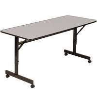 Correll EconoLine Mobile Flip Top Table, 24 inch x 72 inch Adjustable Height Melamine Top, Gray - EconoLine