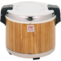 Thunder Group SEJ18000 30 Cup Rice Warmer with Wood Grain Finish - 120V