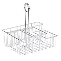 Clipper Mill by GET 4-21696 8 inch x 6 1/2 inch Chrome Metal 4-Compartment Condiment Caddy