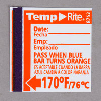 Taylor 8752 TempRite Single Use Manual Dishwasher 170 Degrees F Test Label   - 24/Pack