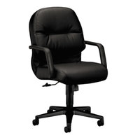 HON 2092SR11T Pillow Soft Black Mid Back Leather Managerial Swivel/Tilt Chair with Casters
