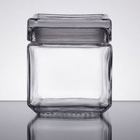 Anchor Hocking 85587R 1 Qt. Clear Stackable Square Glass Jar
