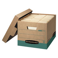Fellowes 12775 12 3/4 inch x 16 1/2 inch x 10 3/8 inch Kraft Letter/Legal Sized Storage Box with Lift-Off Lid - 12/Case