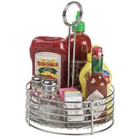 Clipper Mill by GET 4-81866 8 1/2 inch Stainless Steel Round Condiment Caddy with Card Holder