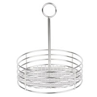 Clipper Mill by GET 4-81850 7 1/2 inch Stainless Steel Round Condiment Caddy with Card Holder