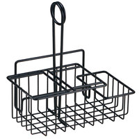 Clipper Mill by GET 4-31698 8 inch x 4 1/2 inch Black Iron Powder Coated 3-Compartment Condiment Caddy with Menu Holder