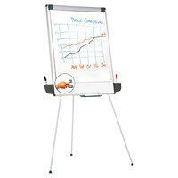 Universal UNV43031 29 inch x 41 inch White and Gray Tripod Style Dry Erase Easel