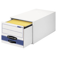 Bankers Box 00312 17 inch x 25 1/2 inch x 11 1/2 inch White/Blue Legal Sized Heavy-Duty Corrugated Fiberboard Storage Drawer with Steel Frame - 6/Case