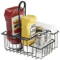 Clipper Mill by GET 4-31696 8 inch x 6 1/2 inch Black Teflon® Coated Iron 4-Compartment Condiment Caddy