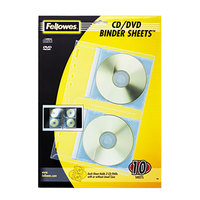 Fellowes 95304 7 3/8 inch x 11 1/8 inch Clear 2 Disc CD/DVD Protector Sheet - 10/Pack