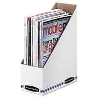 Fellowes 10723 4 inch x 9 1/4 inch x 11 3/4 inch White Corrugated Cardboard Magazine File - 12/Case