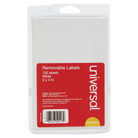 Universal UNV50113 2 inch x 4 inch White Rectangular Removable Self-Adhesive Multi-Use Write-On Label - 120/Pack