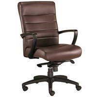 Eurotech Seating LE255-BRNL Manchester Brown Leather Mid Back Swivel Tilt Office Chair