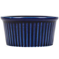 CAC RKF-6BLU Festiware 6 oz. Blue China Fluted Ramekin - 36/Case
