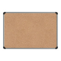 Universal UNV43712 24 inch x 18 inch Cork Board with Aluminum Frame