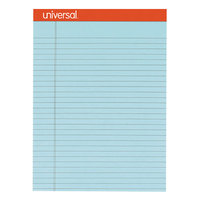 Universal UNV35885 8 1/2 inch x 11 3/4 inch Legal Rule Blue Perforated Note Pad - 6/Pack