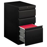 HON 33723RP Efficiencies Mobile 15 inch x 22 7/8 inch x 28 inch Black One File and Two Box Drawers Pedestal File - Letter