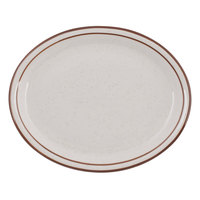 Tuxton TBS-013 Bahamas 11 1/2 inch x 9 1/8 inch Brown Speckle Narrow Rim China Platter - 12/Case