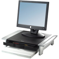 Fellowes 8031101 Office Suites 19 7/8 inch x 14 1/16 inch x 6 1/2 inch Black / Silver Monitor Riser