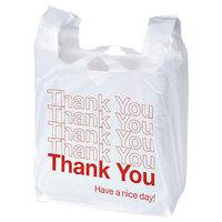 Universal UNV63037 11 inch x 6 inch x 22 inch .55 Mil White Thank You Plastic T-Shirt Bag - 1000/Case