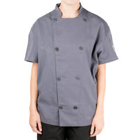 Chef Revival Silver J205GR-M Gray Size 40 (M) Double-Breasted Performance Short Sleeve Chef Jacket with Mesh Back - Poly-Cotton Blend