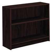 HON 1871N 1870 Series Mahogany 2 Shelf Laminate Wood Bookcase - 36 inch x 11 1/2 inch x 29 7/8 inch