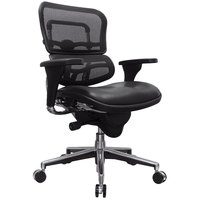 Eurotech Seating LEM6ERGLO Ergohuman Black Leather / Mesh Mid Back Swivel Office Chair