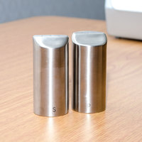 Tablecraft 162 2 oz. Marina Stainless Steel Salt and Pepper Shaker Set - 6/Box