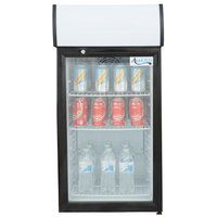 Avantco SC-80 Black Countertop Display Refrigerator with Swing Door