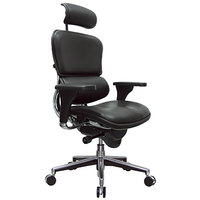 Eurotech Seating LE9ERG Ergohuman Black Leather High Back Swivel Office Chair