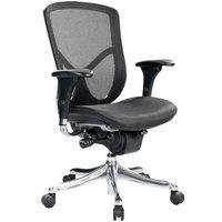 Eurotech Seating FUZ8LX-LO-BKALU Fuzion Black Luxury Mesh Mid Back Swivel Office Chair