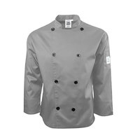 Chef Revival J200GR-M Gray Size 40 (M) Double-Breasted Performance Long Sleeve Chef Jacket with Mesh Back - Poly-Cotton Blend