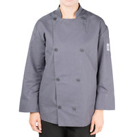 Chef Revival Silver J200GR-M Gray Size 40 (M) Double-Breasted Performance Long Sleeve Chef Jacket with Mesh Back - Poly-Cotton Blend