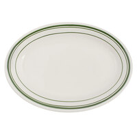 Tuxton TGB-026 Green Bay 8 1/4 inch x 5 3/4 inch Eggshell Wide Rim Rolled Edge Oval China Platter with Green Bands - 36/Case