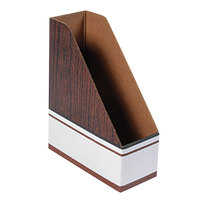 Fellowes 07223 4 inch x 9 inch x 11 1/2 inch Wood Grain Corrugated Cardboard Magazine File - Letter - 12/Case