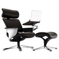 Eurotech Seating NUVEMBLK Nuvem Black Leather Lounge Office Chair with Aluminum Frame