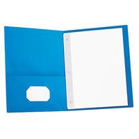 Universal UNV57115 Letter Size 2-Pocket Paper Pocket Folder - Tang Fasteners, Light Blue - 25/Box