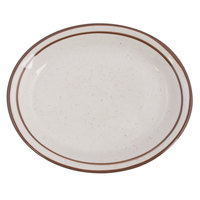 Tuxton TBS-041 Bahamas 8 1/2 inch x 6 7/8 inch Brown Speckle Narrow Rim China Platter - 36/Case