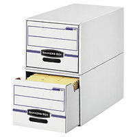 Fellowes 00722 STOR/DRAWER 16 3/4 inch x 19 1/2 inch x 11 1/2 inch White/Blue File Drawer Storage Box with Plastic Handle - Legal - 6/Case
