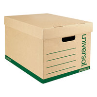 Universal UNV28223 100% Recycled 12 inch x 15 inch x 10 inch Standard-Duty Kraft Letter / Legal File Storage Box with Lid - 12/Case