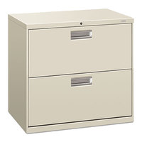 HON 672LQ 600 Series 30 inch x 19 1/4 inch x 28 3/8 inch Light Gray Two-Drawer Metal Lateral File Cabinet - Legal/Letter