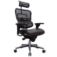Eurotech Seating LEM4ERG Ergohuman Black Leather / Mesh High Back Swivel Office Chair