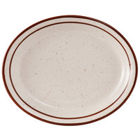 Tuxton TBS-914 Bahamas 13 3/4 inch x 11 1/4 inch Brown Speckle Narrow Rim China Platter - 12/Case