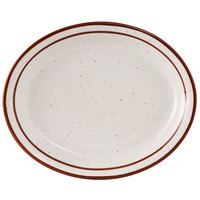 Tuxton TBS-012 Bahamas 9 1/2 inch x 7 1/2 inch Brown Speckle Narrow Rim China Platter - 24/Case