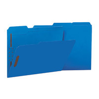 Universal UNV13521 Letter Size Fastener Folder with 2 Fasteners - Reinforced 1/3 Cut Assorted Tab, Blue - 50/Box