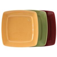 Tuxton DYH-112L DuraTux 11 inch Square China Plate, Assorted Colors - 12/Case