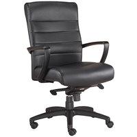 Eurotech Seating LE255-BLKL Manchester Black Leather Mid Back Swivel Tilt Office Chair