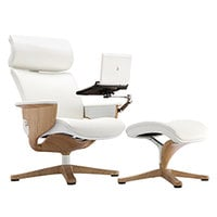 Eurotech Seating NUVEMWHT Nuvem White Leather Lounge Office Chair with Teak Wood Finished Frame